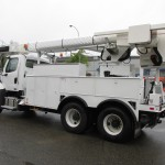 Truck equipped with aerial man lift