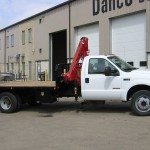 Flat Bed Truck With Collapsable Crane