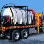 Salt tank for snow plow truck