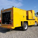 Yellow service truck body