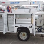 Service truck body with storage compartments.