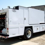 Commercial truck with service body.