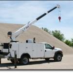 Service truck body with service crane.
