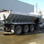 Salt bin for deicing attached to truck